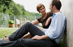 Couple sitting at park