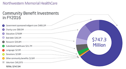 Northwestern Memorial HealthCare FY2016 Community Benefit Investments Graph