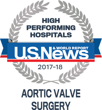 Central DuPage and Northwestern Memorial Hospital U.S. News & World Report High Performing Hospitals Aortic Valve 2017-2018 graphic.