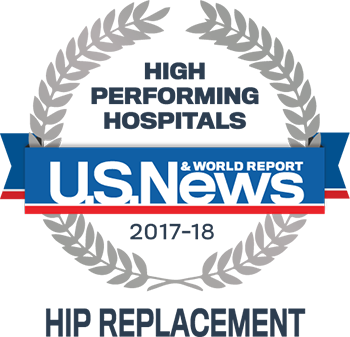 Central DuPage and Northwestern Memorial Hospital U.S. News & World Report High Performing Hospitals Hip Replacement 2017-2018 graphic.