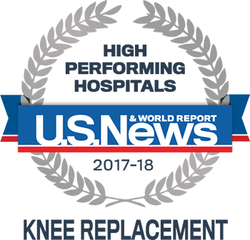 Central DuPage and Northwestern Memorial Hospital U.S. News & World Report High Performing Hospitals Knee Replacement 2017-2018 graphic.