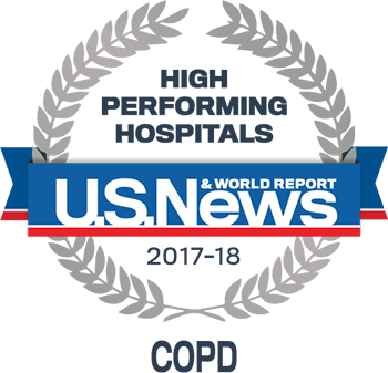 Central DuPage, Lake Forest and Northwestern Memorial Hospital U.S. News & World Report High Performing Hospitals COPD 2017-2018 graphic.
