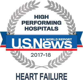 Central DuPage, Lake Forest and Northwestern Memorial Hospital U.S. News & World Report High Performing Hospitals Heart Failure 2017-2018 graphic.