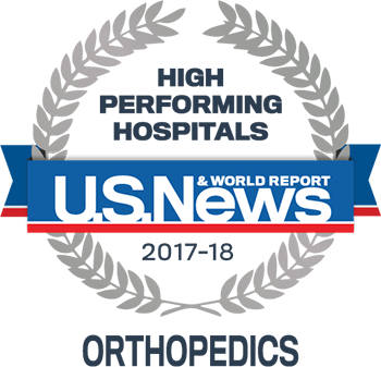 Lake Forest Hospital U.S. News & World Report High Performing Hospitals Orhopaedics 2017-2018 graphic.