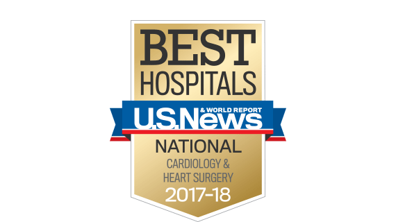 Northwestern Memorial Hospital U.S. News & World Report Best National Hospital, Cardiology and Heart Surgery 2017-2018 graphic.