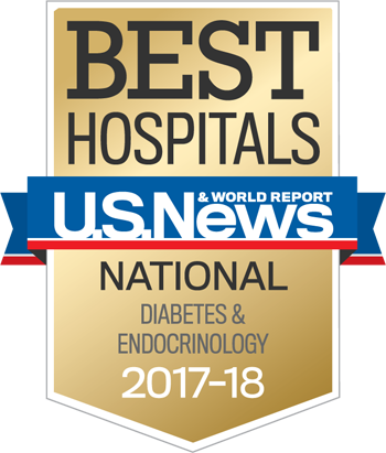 Northwestern Memorial Hospital U.S. News & World Report Best National Hospital, Diabetes and Endocrionlogy 2017-2018 graphic.