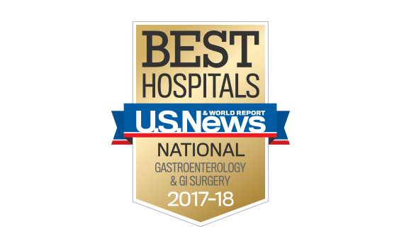 Northwestern Memorial Hospital U.S. News & World Report Best National Hospital, Gastroenterology and GI Surgery 2017-2018 graphic.