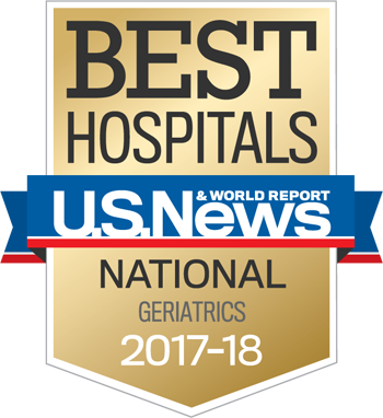 Northwestern Memorial Hospital U.S. News & World Report Best National Hospital, Geriatrics 2017-2018 graphic.