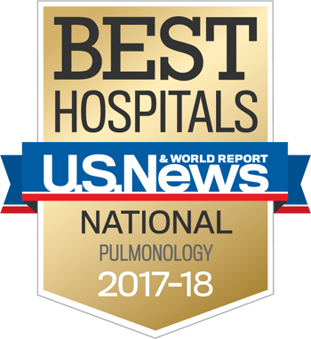 Northwestern Memorial Hospital U.S. News & World Report Best National Hospital, Pulmonolgy 2017-2018 graphic.