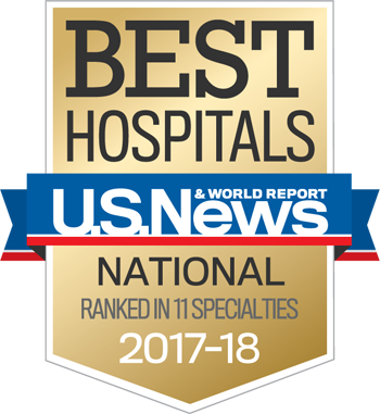 Northwestern Memorial Hospital U.S. News & World Report Best National Hospital, Ranked in 11 Specialties 2017-2018 graphic.