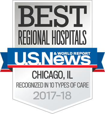 Northwestern Memorial Hospital U.S. News & World Report Best Regional Hospital, 10 Types of Care 2017-2018 graphic.