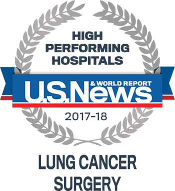 Northwestern Memorial Hospital U.S. News & World Report High Performing Hospitals Lung Cancer Surgery 2017-2018 graphic.