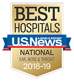 Northwestern Memorial Hospital U.S. News & World Report Best Hospitals Ear, Nose & Throat 2018-2019 graphic.