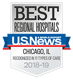 Northwestern Memorial Hospital U.S. News & World Report High Performing Recognized in 11 Types of Care 2018-2019 graphic.