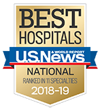 Northwestern Memorial Hospital U.S. News & World Report Best Hospitals Recognized in 11 Specialties 2018-2019 graphic.