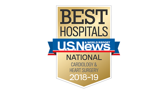 Northwestern Memorial Hospital U.S. News & World Report Best National Hospital, Cardiology & Heart Surgery 2018-2019 graphic.