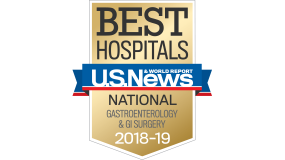 Northwestern Memorial Hospital U.S. News & World Report Best National Hospital, Gastroenterology & GI Surgery 2018-2019 graphic.