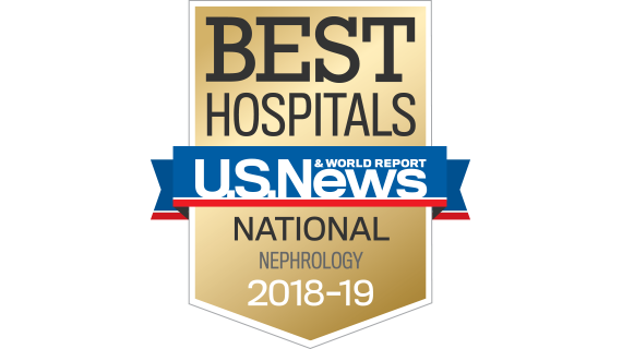 Northwestern Memorial Hospital U.S. News & World Report Best National Hospital, Nephrology 2018-2019 graphic.