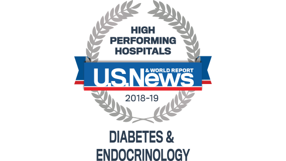 Northwestern Memorial Hospital U.S. News & World Report High Performing Hospital, Diabetes & Endocrinology 2018-2019 graphic.