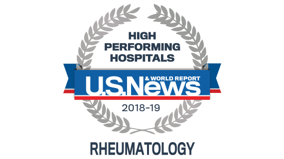 Northwestern Memorial Hospital U.S. News & World Report High Performing Hospital, Rheumatology 2018-2019 graphic.