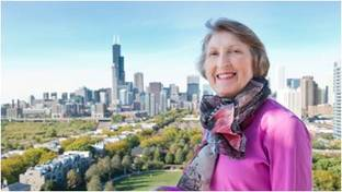 Marjorie David with Chicago skyline in the distance