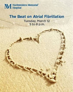 The beat on atrial fibrillation flyer with a heart outline in the sand