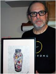 Gerald Van Gemert II holding his original piece of artwork