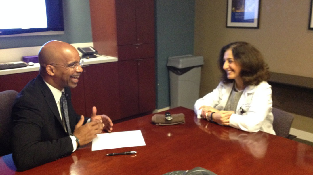Dr. Clyde Yancy, Chief of Cardiology, interviews Dr. Vera Rigolin