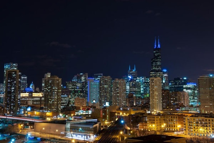 Arial view of the Chicago skyline lit up at night
