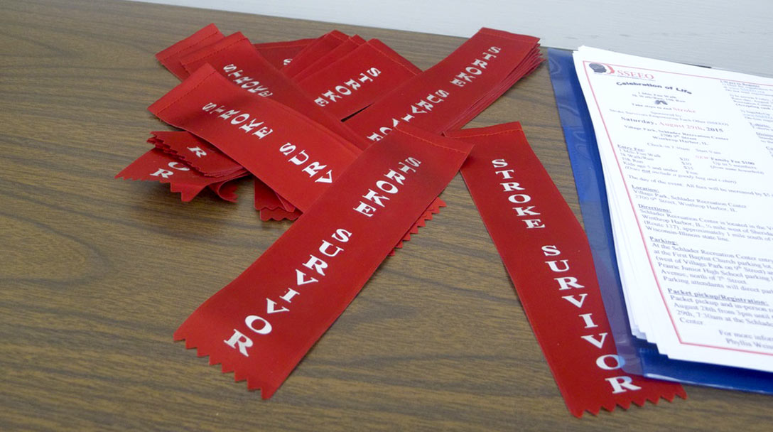 Red ribbons for stroke survivors