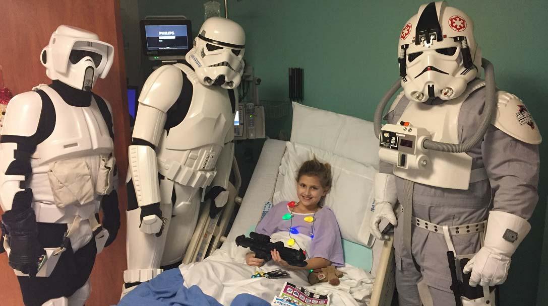star wars bad guys visit children at central dupage hospital