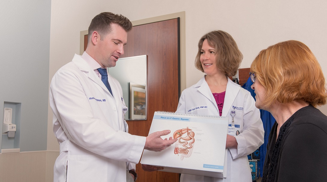 Dr. Matthew Pittman consults with a patient at the Northwestern Medicine Metabolic Health and Surgical Weight Loss Center at Delnor Hospital