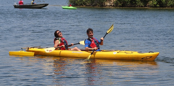 Spinal cord injury support group members enjoy kayaking during the Marianjoy adaptive sports day