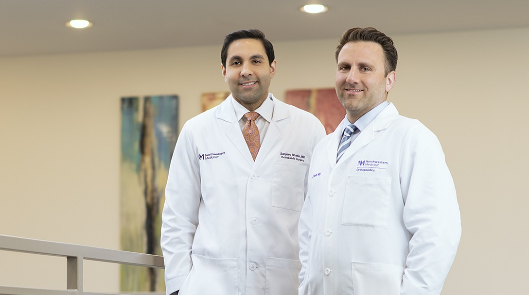 Brian Chilelli, MD, and Sanjeev Bhatia, MD, orthopaedic surgeons at the Northwestern Medicine Hip and Knee Joint Preservation Center at Central DuPage Hospital