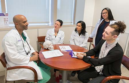 The Northwestern Medicine gender pathways team talking with a patient.