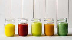 Jars of different kinds of juice