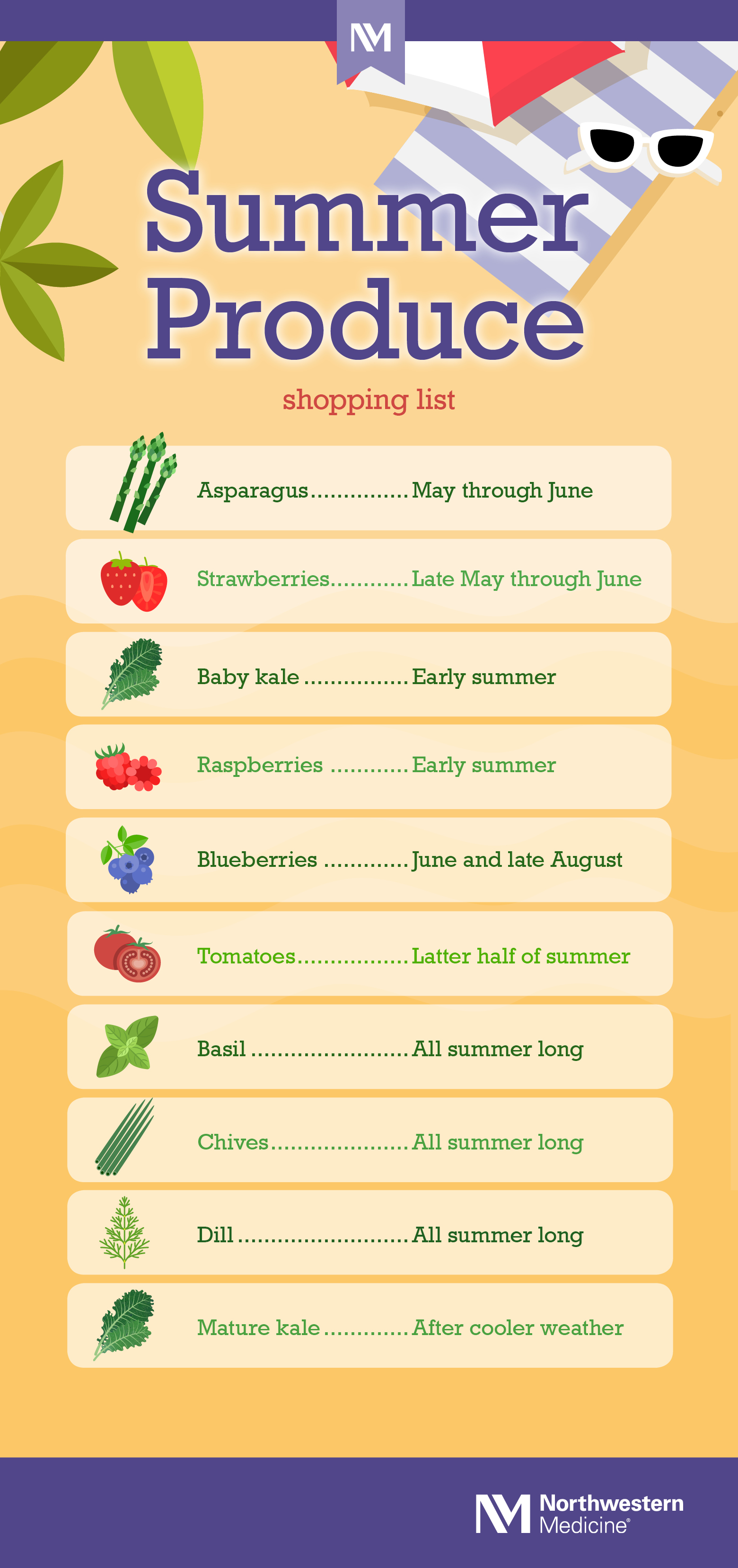Summer Produce Printable Shopping List
