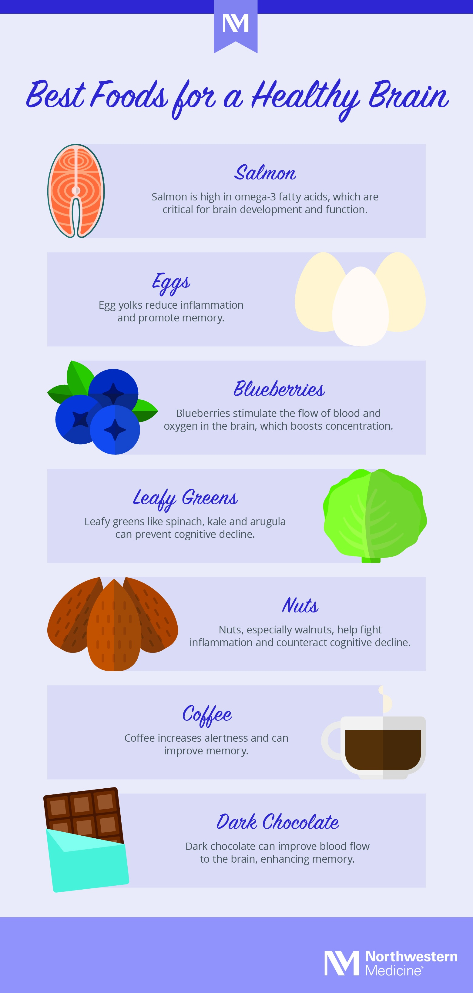 Best Foods for a Healthy Brain infographic