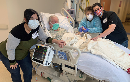 James Teltschik and his family at Northwestern Memorial Hospital.