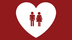 Heart graphic with man and woman