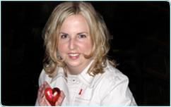 Patient Brooke in a white jacket with a heart