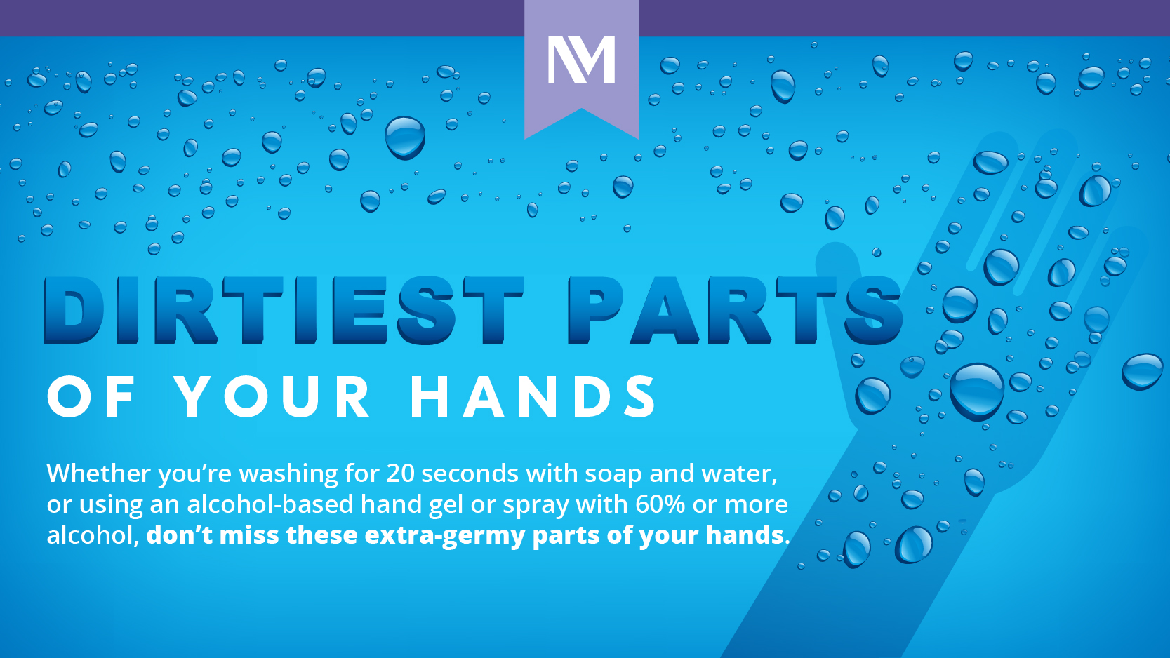 "Blue background with copy that says ""Dirtiest parts of your hands"""